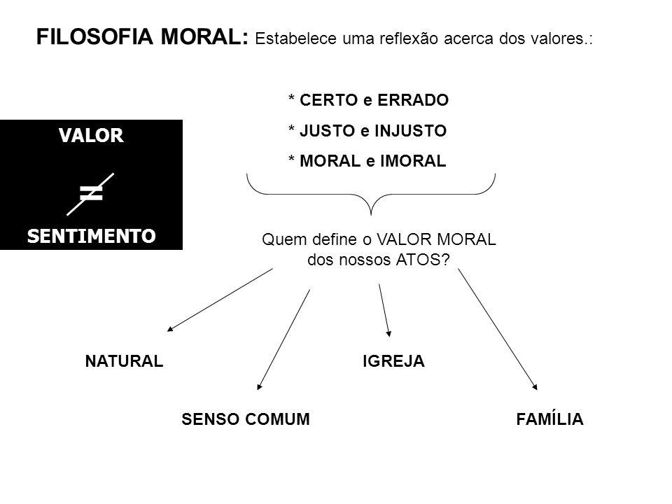 Quem define o VALOR MORAL dos nossos ATOS