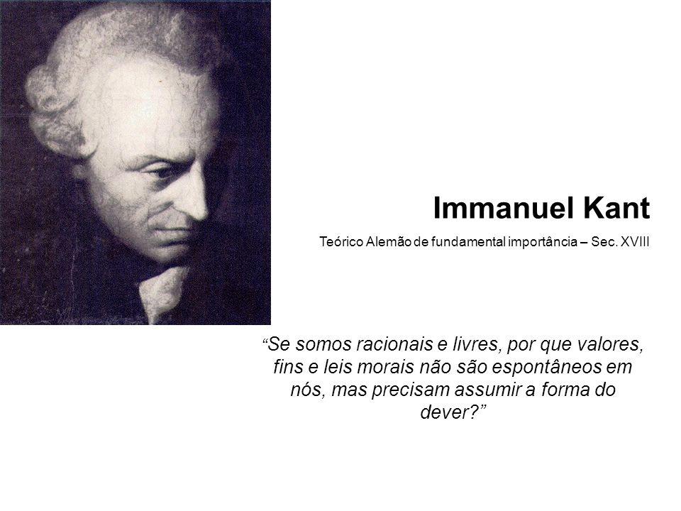 Immanuel Kant Teórico Alemão de fundamental importância – Sec. XVIII.