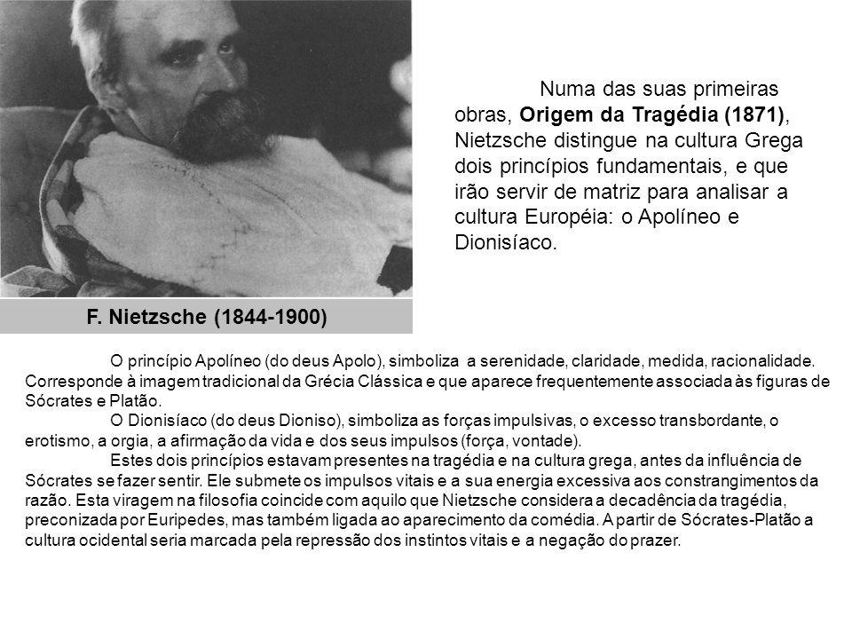 Numa das suas primeiras obras, Origem da Tragédia (1871), Nietzsche distingue na cultura Grega dois princípios fundamentais, e que irão servir de matriz para analisar a cultura Européia: o Apolíneo e Dionisíaco.