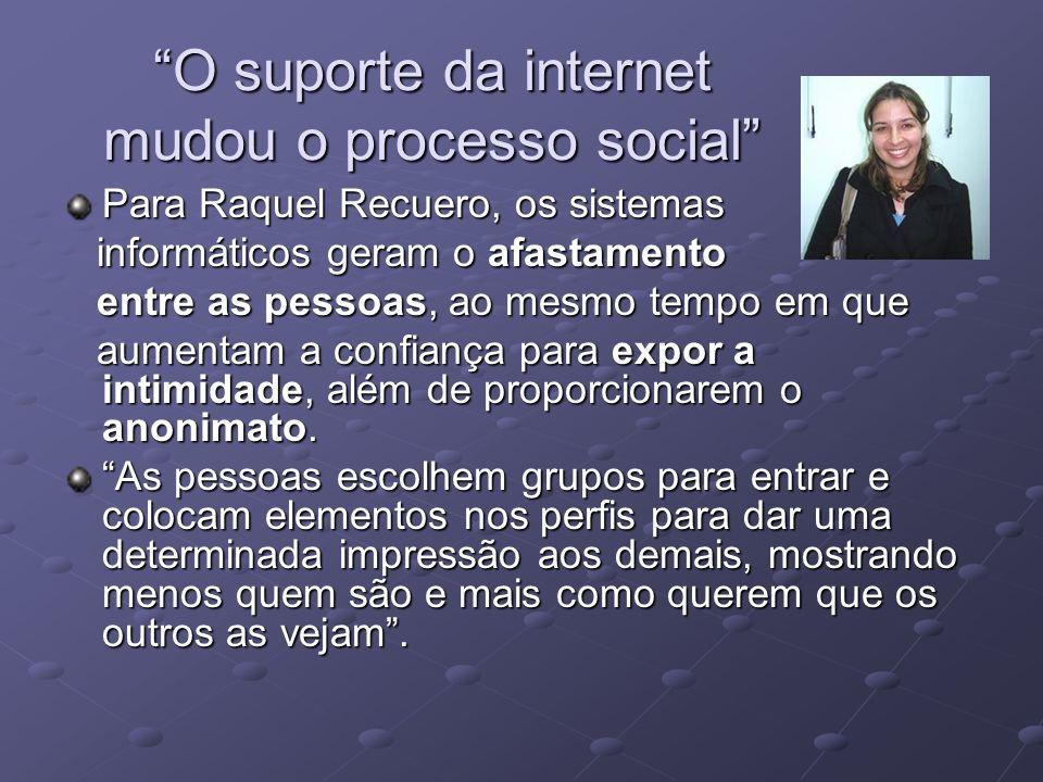 O suporte da internet mudou o processo social