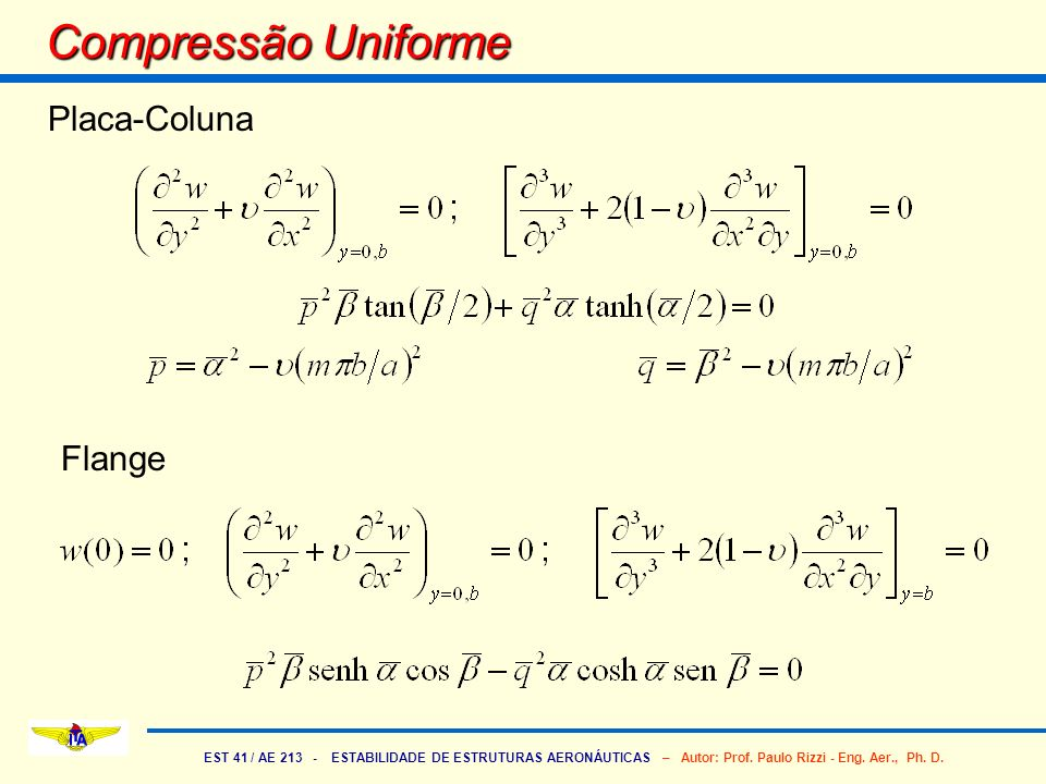 Compressão Uniforme Placa-Coluna Flange