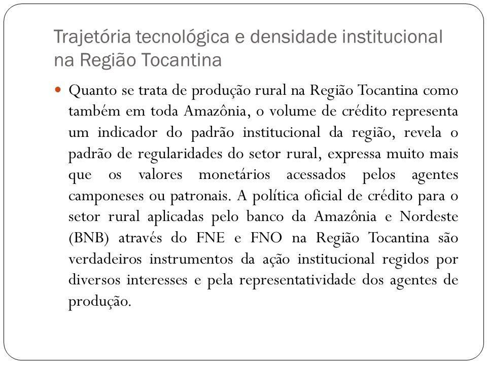 Trajetória tecnológica e densidade institucional na Região Tocantina