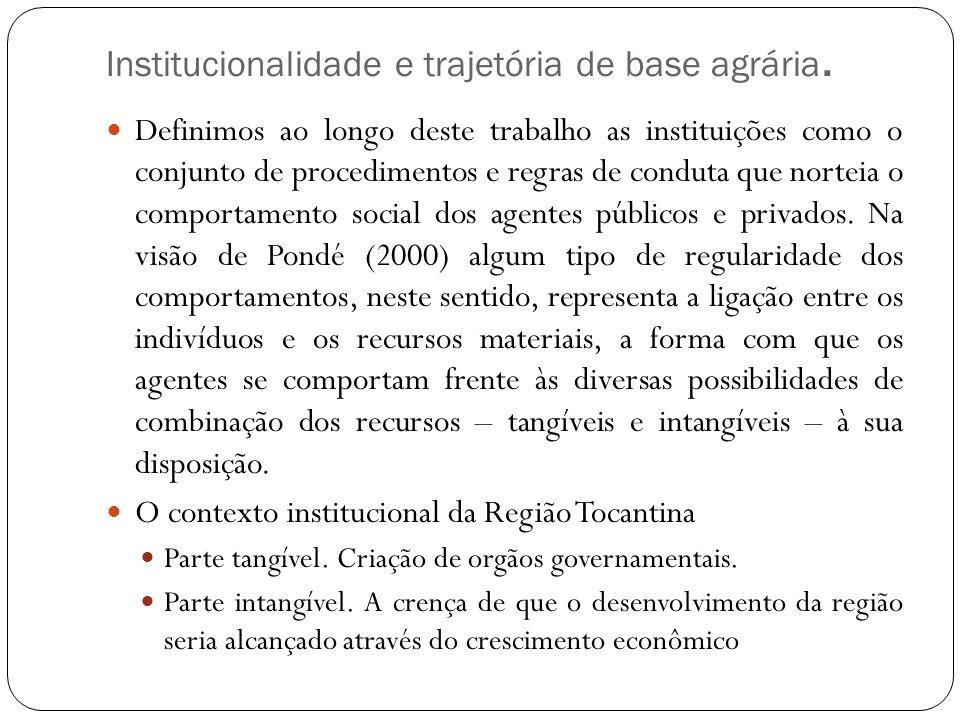 Institucionalidade e trajetória de base agrária.