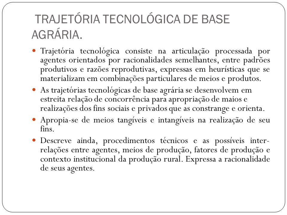 TRAJETÓRIA TECNOLÓGICA DE BASE AGRÁRIA.