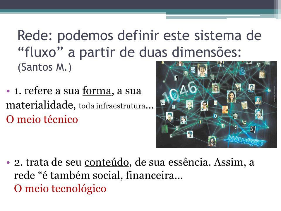 Rede: podemos definir este sistema de fluxo a partir de duas dimensões: (Santos M.)