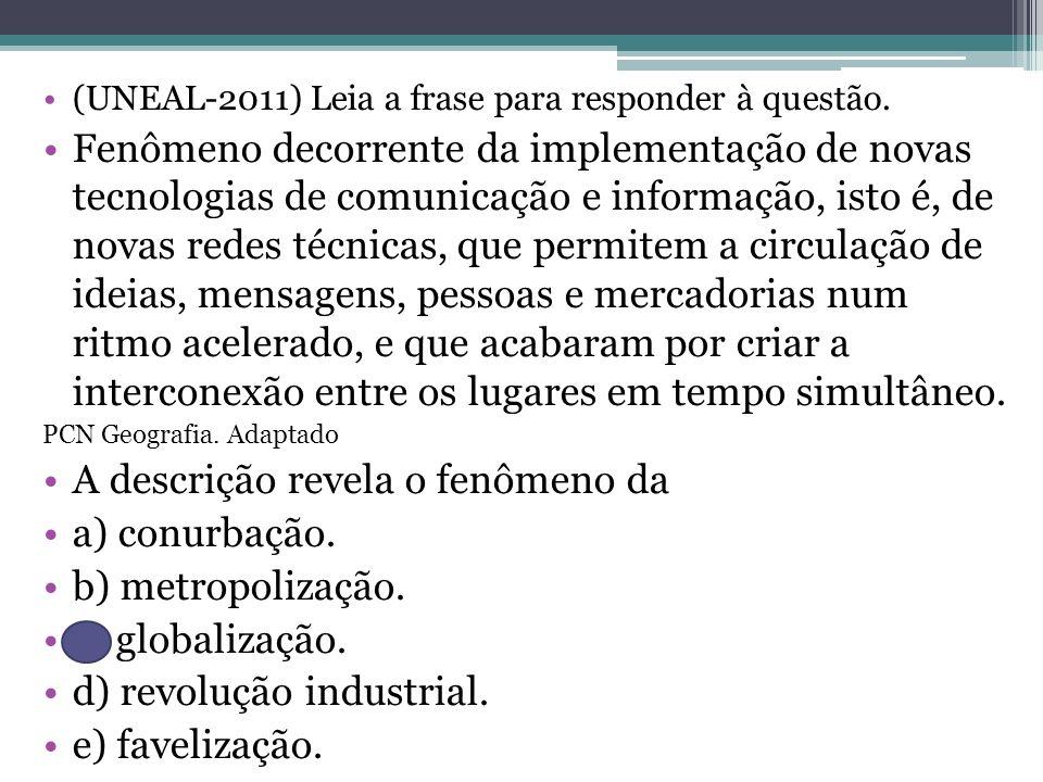 A descrição revela o fenômeno da a) conurbação. b) metropolização.