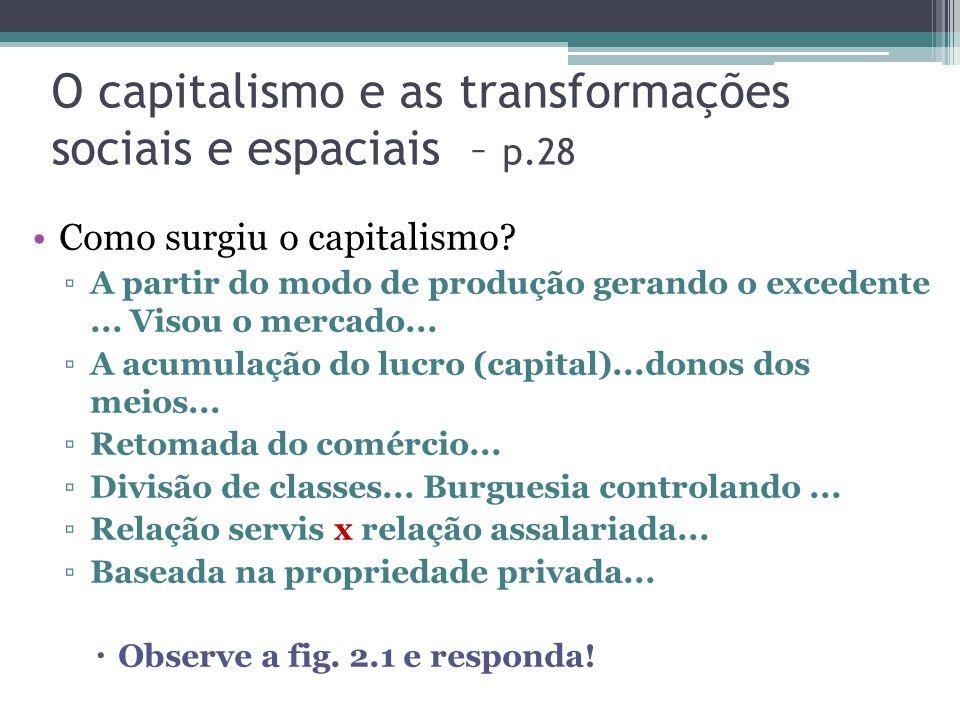 O capitalismo e as transformações sociais e espaciais – p.28