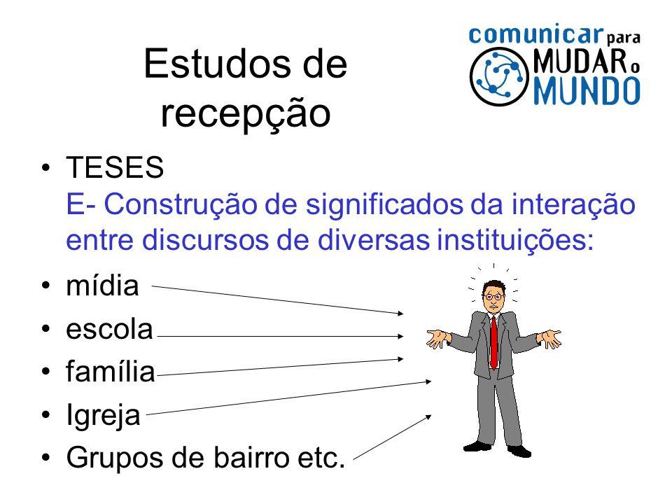 Estudos de recepção TESES E- Construção de significados da interação entre discursos de diversas instituições: