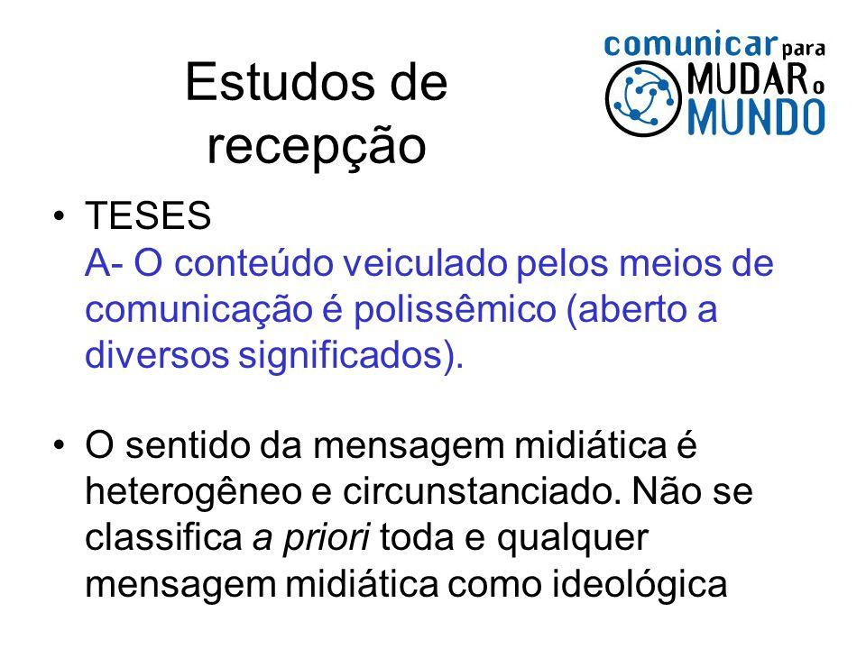 Estudos de recepçãoTESES A- O conteúdo veiculado pelos meios de comunicação é polissêmico (aberto a diversos significados).