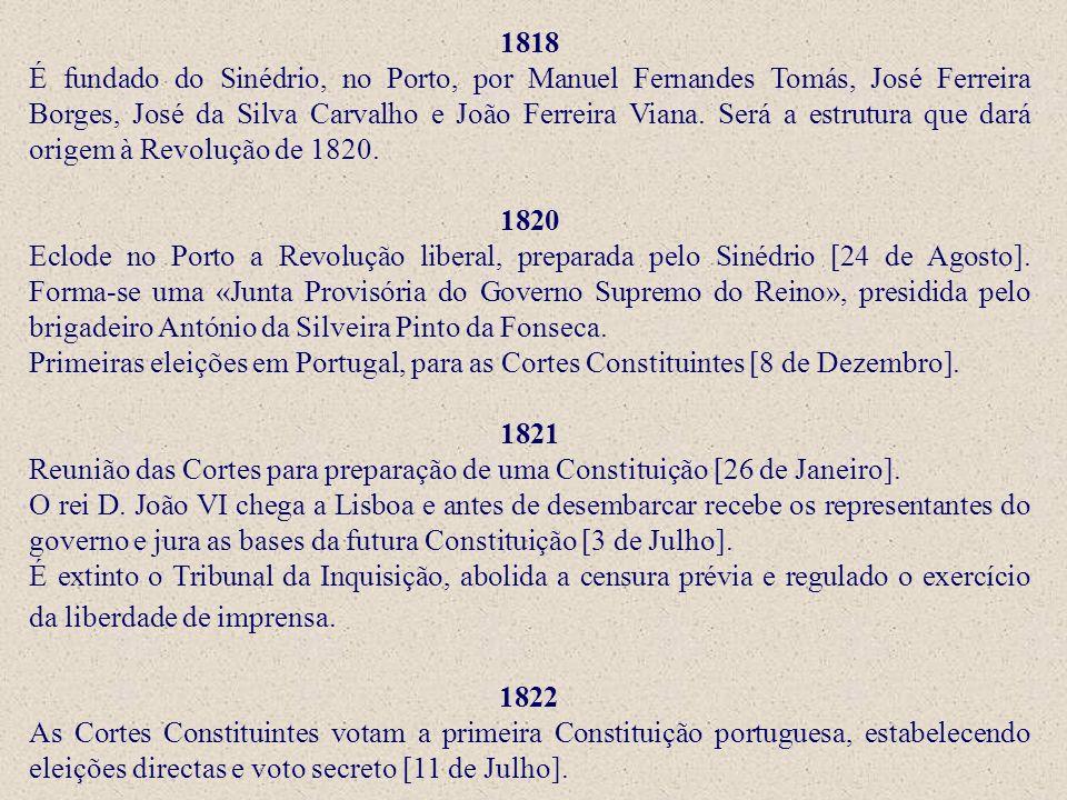 1818 É fundado do Sinédrio, no Porto, por Manuel Fernandes Tomás, José Ferreira Borges, José da Silva Carvalho e João Ferreira Viana. Será a estrutura que dará origem à Revolução de 1820.