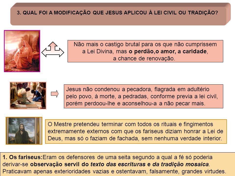 3. QUAL FOI A MODIFICAÇÃO QUE JESUS APLICOU À LEI CIVIL OU TRADIÇÃO