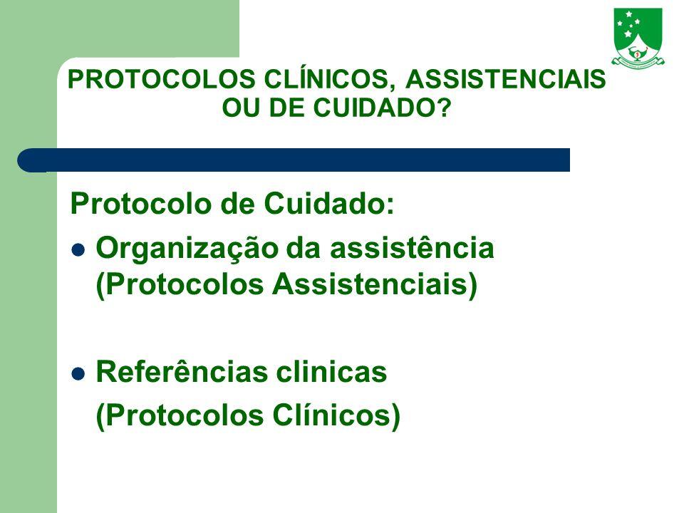 PROTOCOLOS CLÍNICOS, ASSISTENCIAIS OU DE CUIDADO