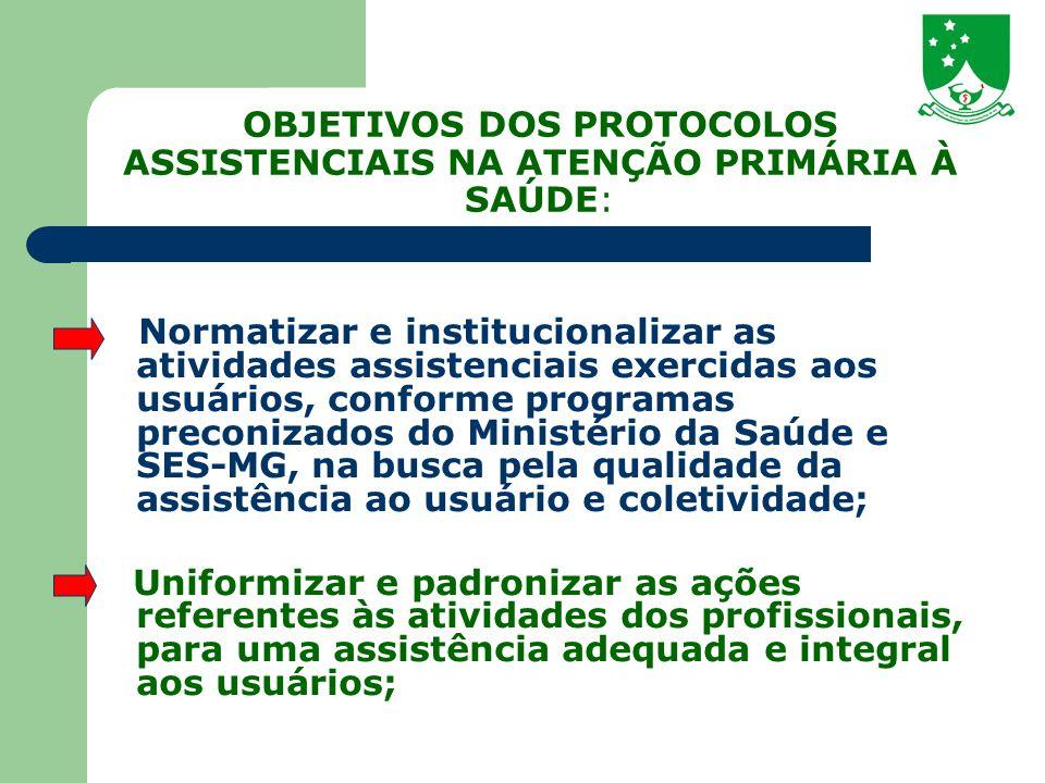 OBJETIVOS DOS PROTOCOLOS ASSISTENCIAIS NA ATENÇÃO PRIMÁRIA À SAÚDE: