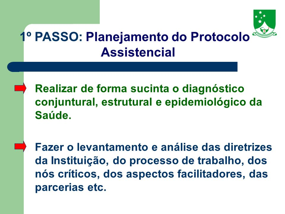 1º PASSO: Planejamento do Protocolo