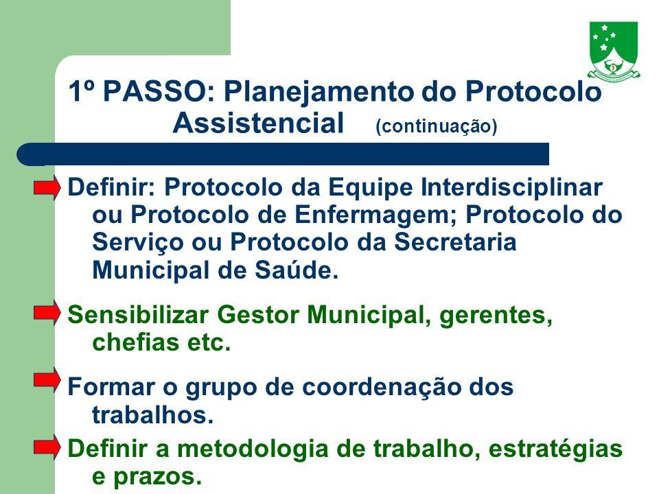 1º PASSO: Planejamento do Protocolo Assistencial (continuação)