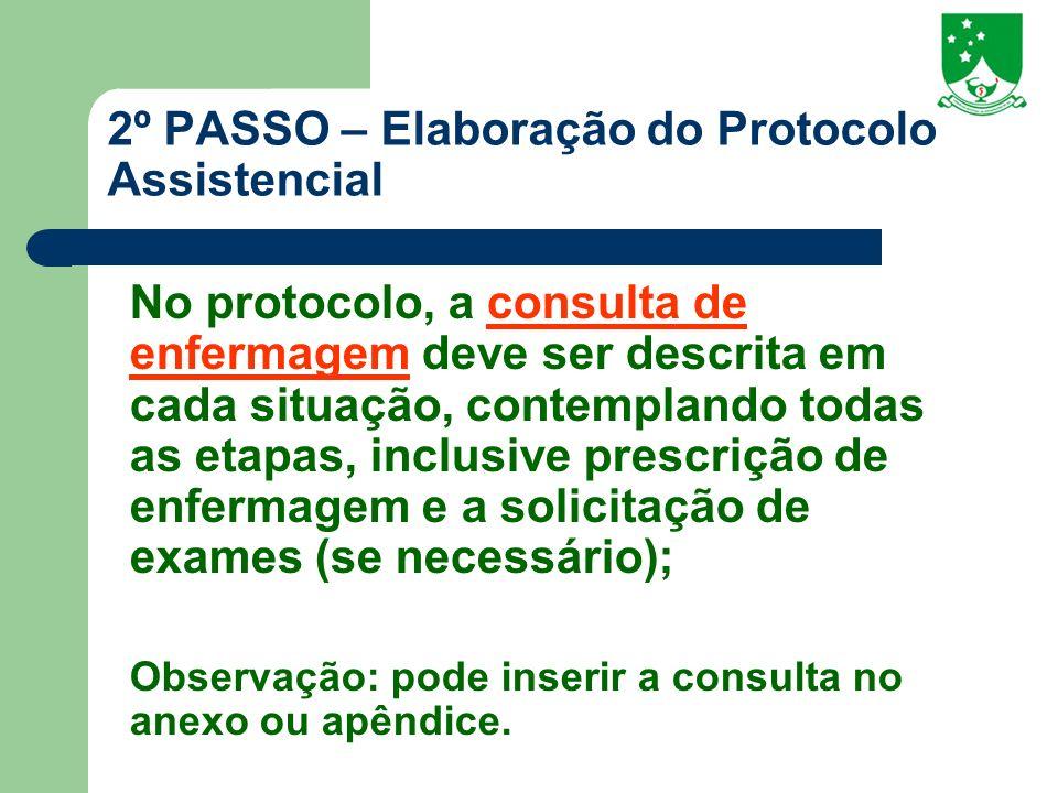 2º PASSO – Elaboração do Protocolo Assistencial