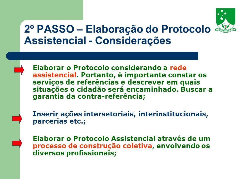 2º PASSO – Elaboração do Protocolo Assistencial - Considerações