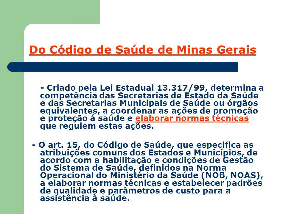 Do Código de Saúde de Minas Gerais