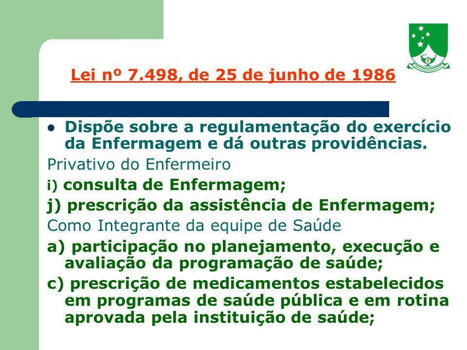 Privativo do Enfermeiro j) prescrição da assistência de Enfermagem;