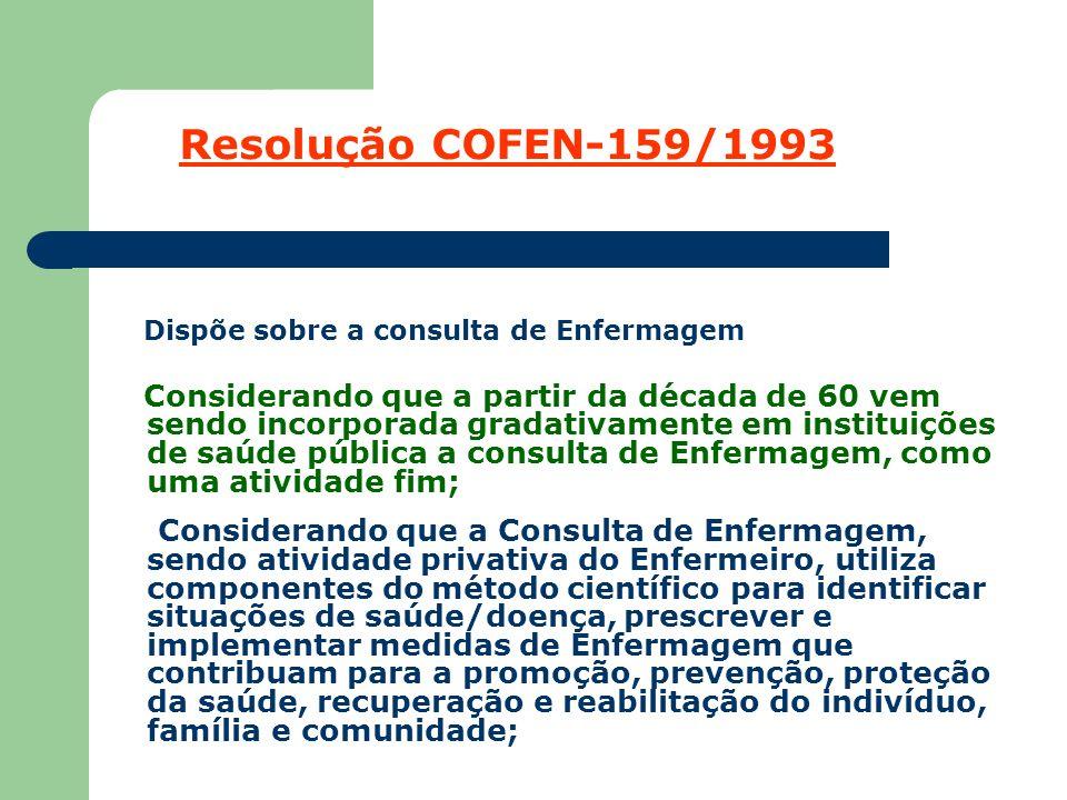 Resolução COFEN-159/1993 Dispõe sobre a consulta de Enfermagem.