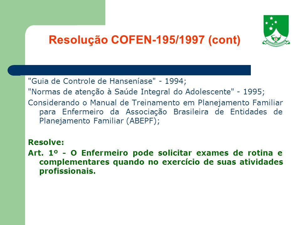 Resolução COFEN-195/1997 (cont)