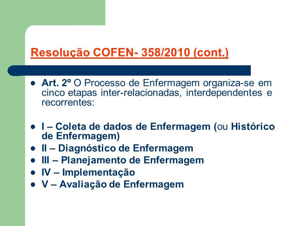Resolução COFEN- 358/2010 (cont.)