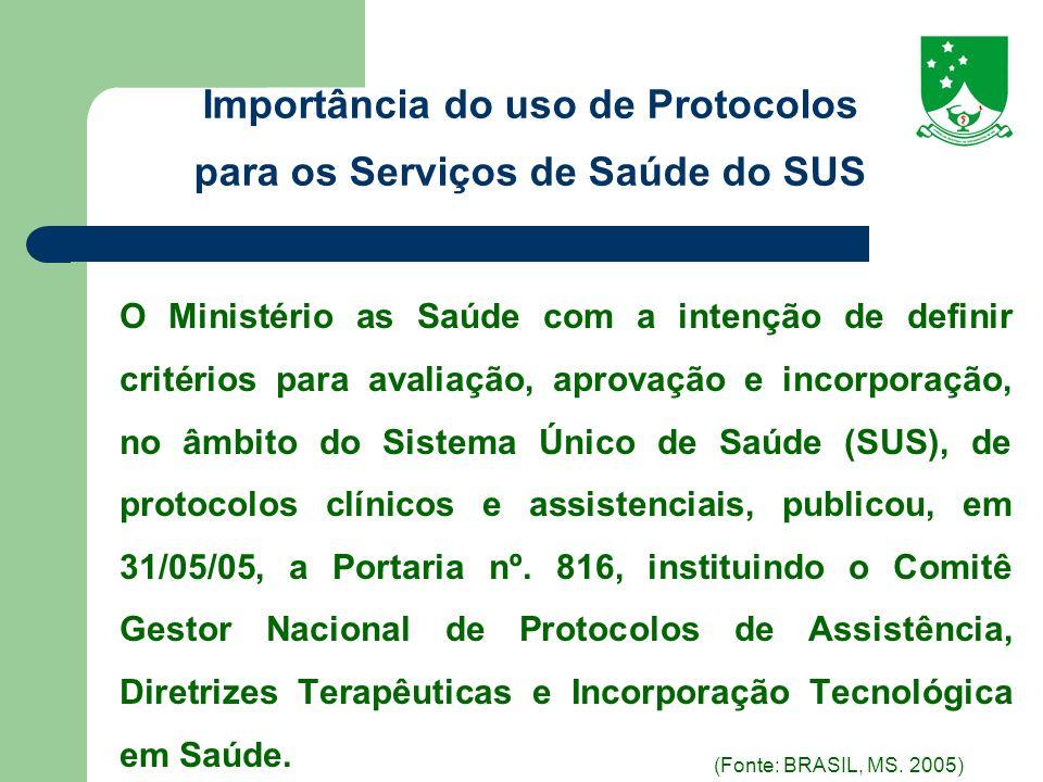 Importância do uso de Protocolos para os Serviços de Saúde do SUS
