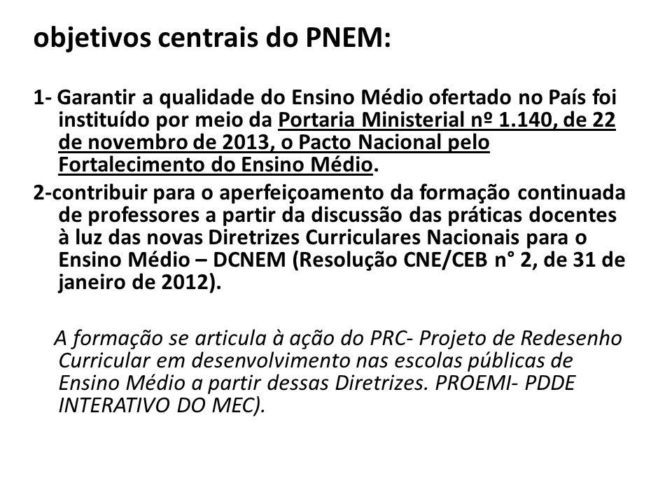 objetivos centrais do PNEM: