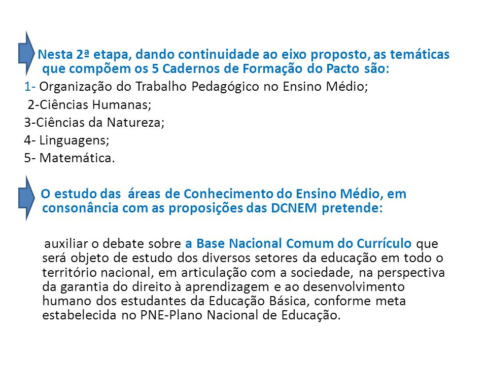 Nesta 2ª etapa, dando continuidade ao eixo proposto, as temáticas que compõem os 5 Cadernos de Formação do Pacto são: