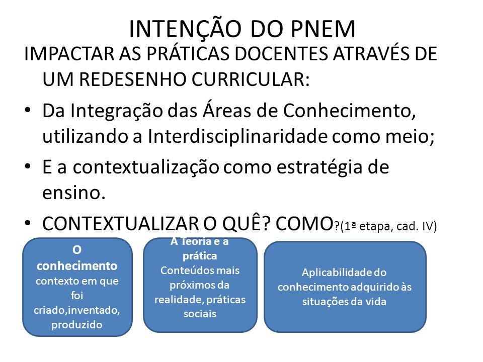 INTENÇÃO DO PNEM IMPACTAR AS PRÁTICAS DOCENTES ATRAVÉS DE UM REDESENHO CURRICULAR: