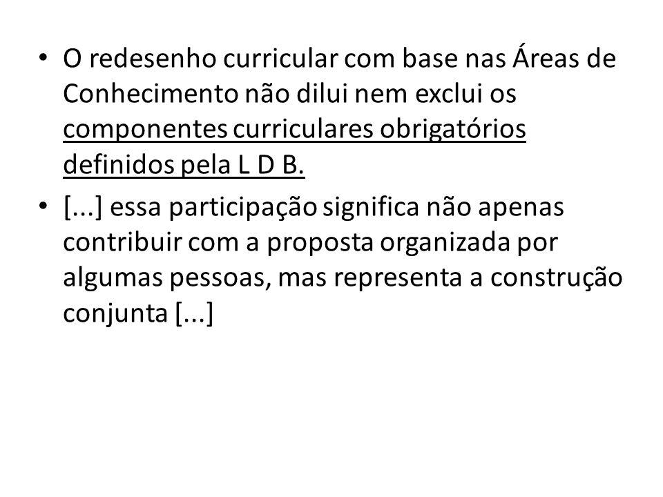 O redesenho curricular com base nas Áreas de Conhecimento não dilui nem exclui os componentes curriculares obrigatórios definidos pela L D B.