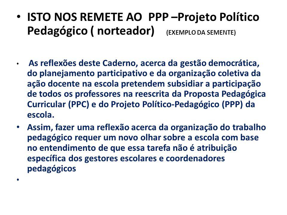 ISTO NOS REMETE AO PPP –Projeto Político Pedagógico ( norteador) (EXEMPLO DA SEMENTE)