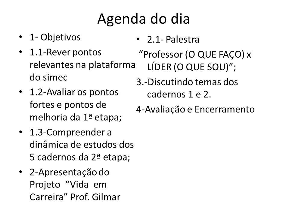 Agenda do dia 1- Objetivos 2.1- Palestra