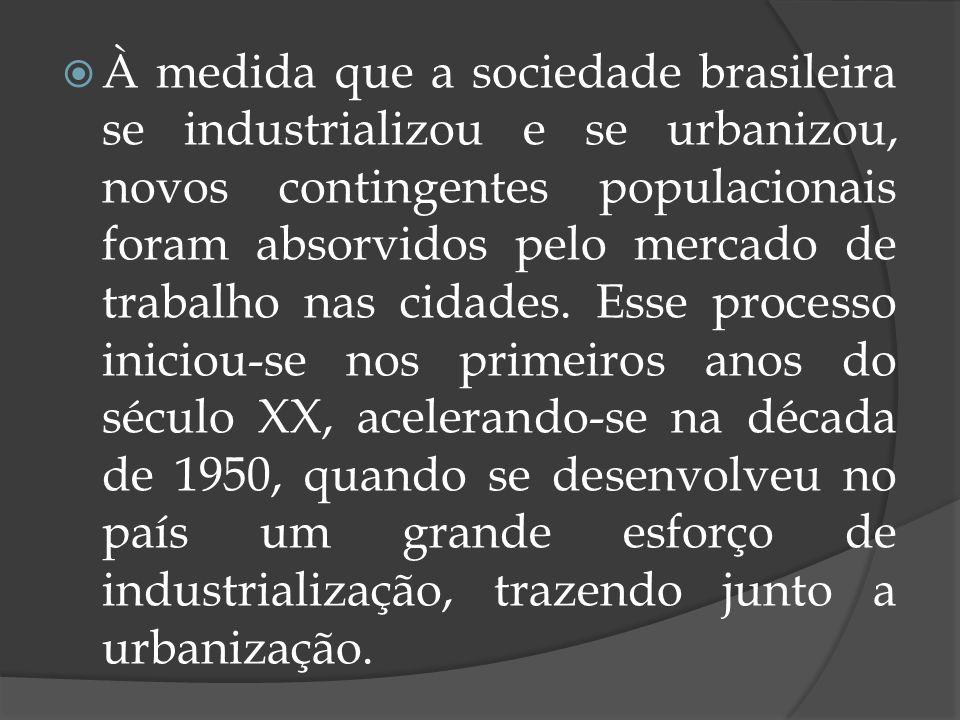 À medida que a sociedade brasileira se industrializou e se urbanizou, novos contingentes populacionais foram absorvidos pelo mercado de trabalho nas cidades.