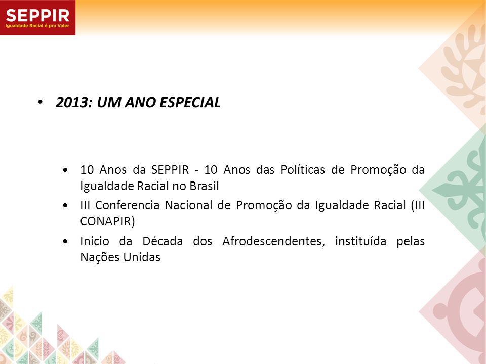 2013: UM ANO ESPECIAL • 10 Anos da SEPPIR - 10 Anos das Políticas de Promoção da Igualdade Racial no Brasil.