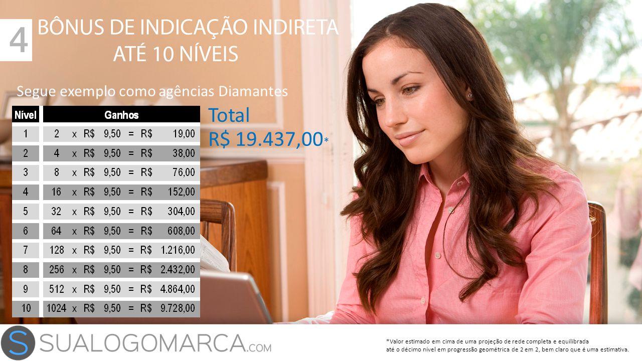 Total R$ 19.437,00* Segue exemplo como agências Diamantes