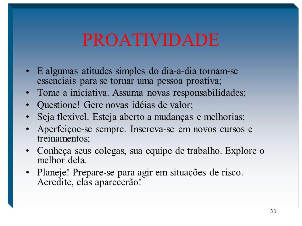 PROATIVIDADE E algumas atitudes simples do dia-a-dia tornam-se essenciais para se tornar uma pessoa proativa;