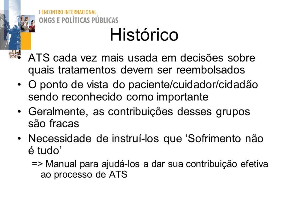 Histórico ATS cada vez mais usada em decisões sobre quais tratamentos devem ser reembolsados.