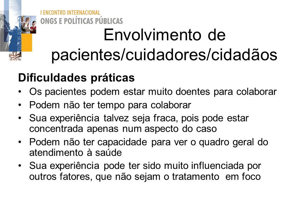 Envolvimento de pacientes/cuidadores/cidadãos