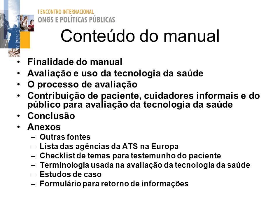 Conteúdo do manual Finalidade do manual