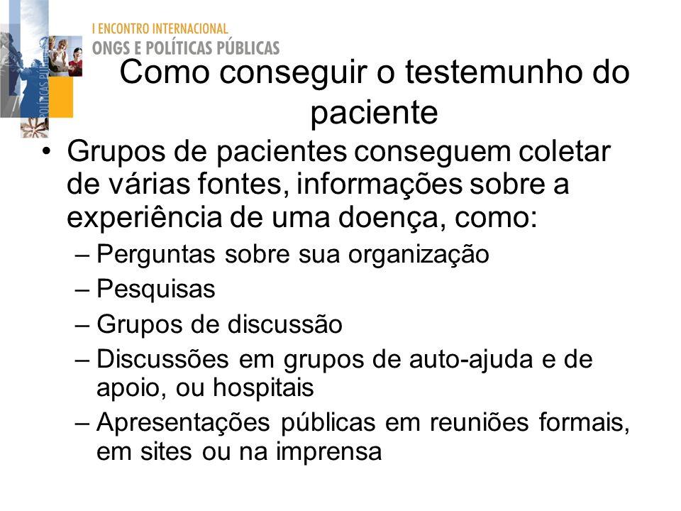 Como conseguir o testemunho do paciente