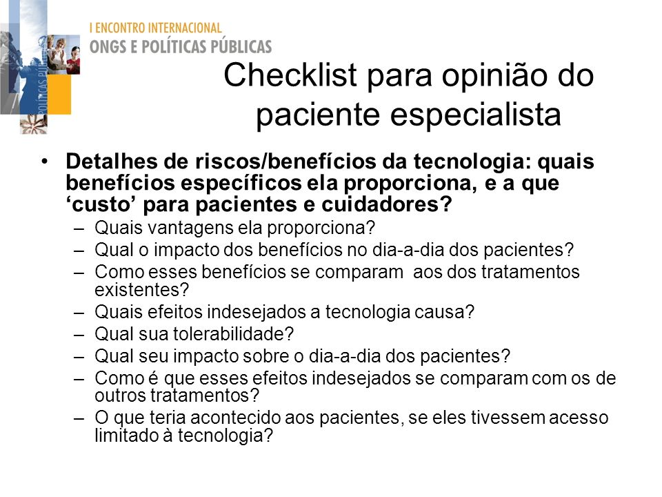 Checklist para opinião do paciente especialista