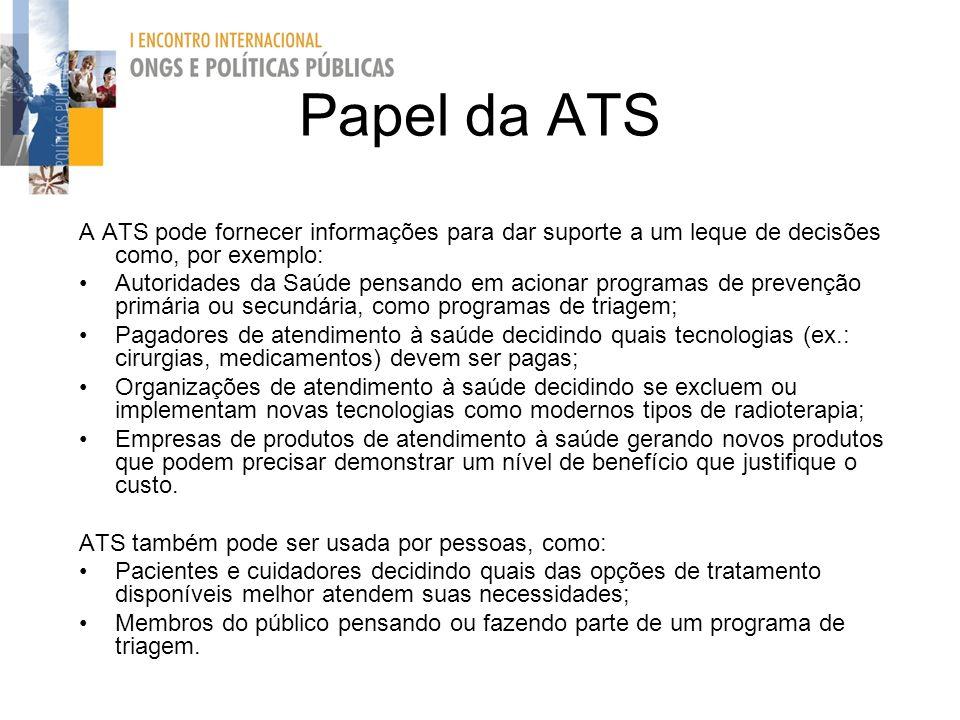 Papel da ATS A ATS pode fornecer informações para dar suporte a um leque de decisões como, por exemplo: