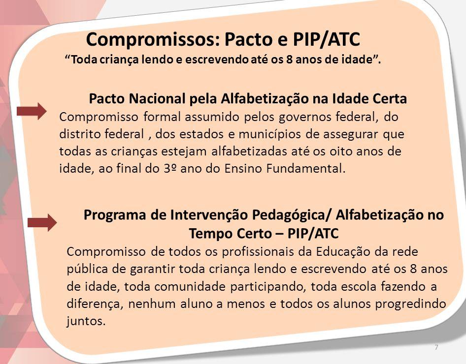 Compromissos: Pacto e PIP/ATC Toda criança lendo e escrevendo até os 8 anos de idade .