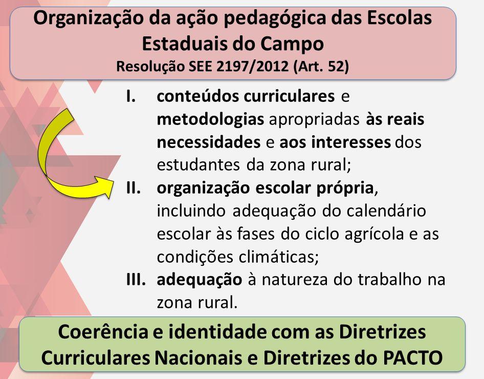 Organização da ação pedagógica das Escolas Estaduais do Campo Resolução SEE 2197/2012 (Art. 52)