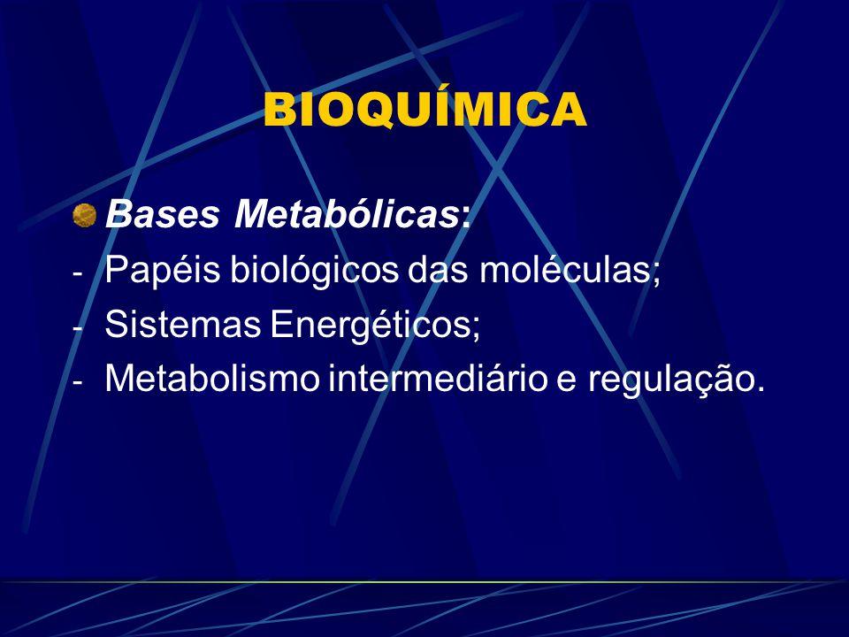 BIOQUÍMICA Bases Metabólicas: Papéis biológicos das moléculas;