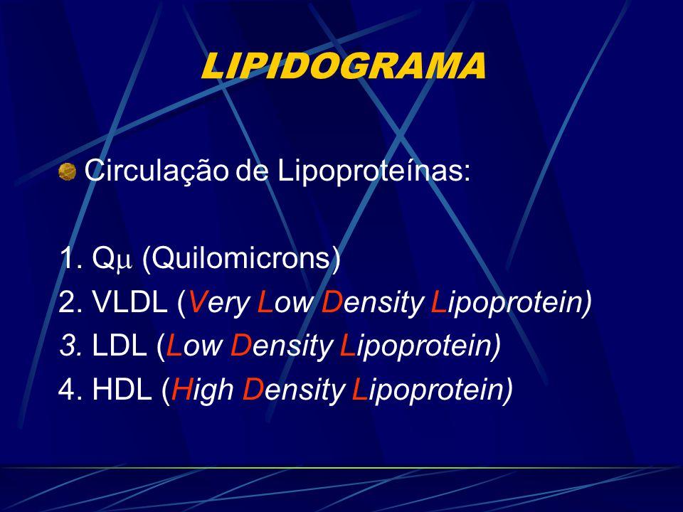 LIPIDOGRAMA Circulação de Lipoproteínas: 1. Q (Quilomicrons)