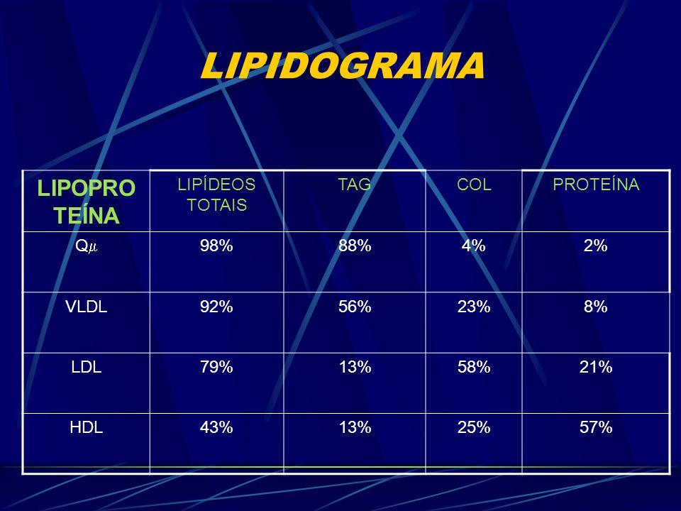 LIPIDOGRAMA LIPOPROTEÍNA LIPÍDEOS TOTAIS TAG COL PROTEÍNA Q 98% 88%