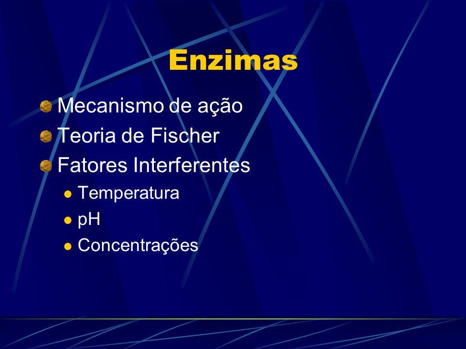 Enzimas Mecanismo de ação Teoria de Fischer Fatores Interferentes