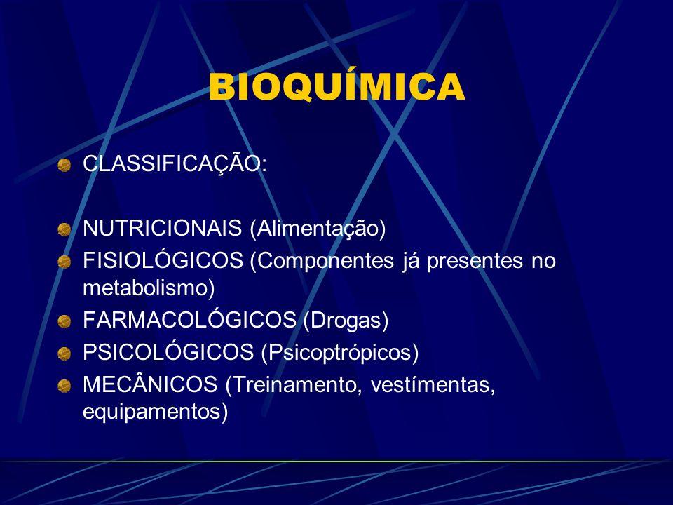 BIOQUÍMICA CLASSIFICAÇÃO: NUTRICIONAIS (Alimentação)